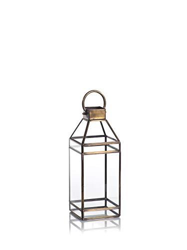Zodax Martino 15' Tall Antique Brass Glass Decorative Candle Lantern, M, Gold