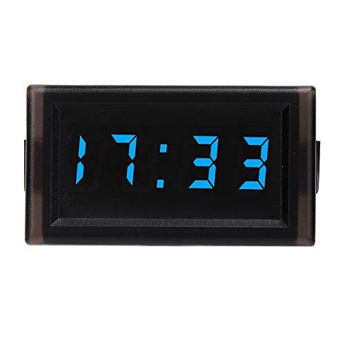 Reloj de tablero de temperatura digital para automóvil, DC4.5-30V Reloj electrónico automático a prueba de polvo impermeable para automóvil Pantalla digital LED(azul)