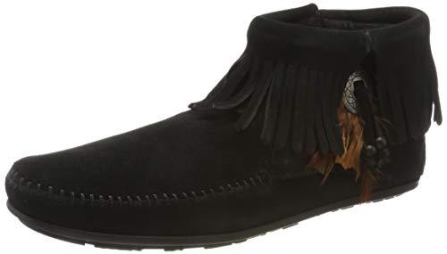 Minnetonka Women's Concho/Feather Side Zip Boot,Black,10 M US