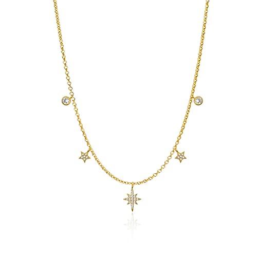 Zjxxm Estrellas círculo Copo de Nieve Cristales Colgantes Collares para Mujer Cha925 Collares de Plata esterlina Collares Gargantilla-Oro
