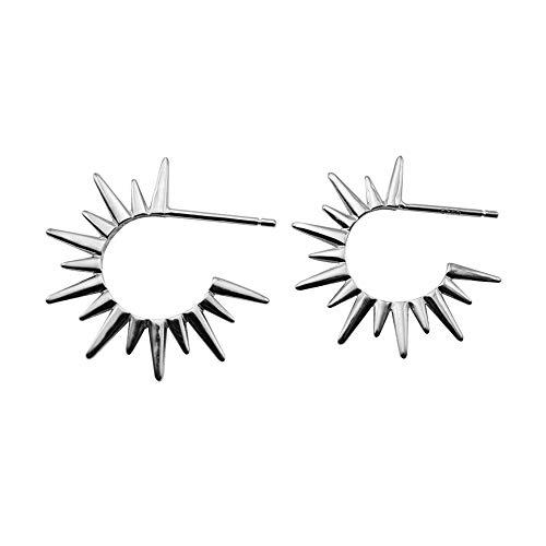 Pendientes de aro pequeños de plata de ley S925 con diseño de pinchos punk con luz solar, chapados en oro blanco, hipoalergénicos para niñas adolescentes