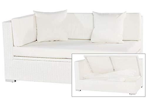 OUTFLEXX 2-Sitzer Ecksofa, weiß, Polyrattan, 145x85x70cm, Armlehne re, inkl. Polster, wasserfeste Kissenbox
