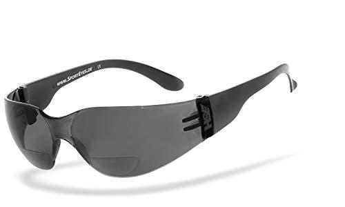 HSE® SportEyes® | BIFOKAL Brille: +2,00 DIOPTRIEN | Sportbrille mit Lesehilfe | UV400 Schutzfilter, HLT® Kunststoff-Sicherheitsglas nach DIN EN 166 | Sportbrille, Bikerbrille, Fahrradbrille mit Nahsichtkorrektur | Brillengestell: schwarz, Brille: Sprinter 2.3