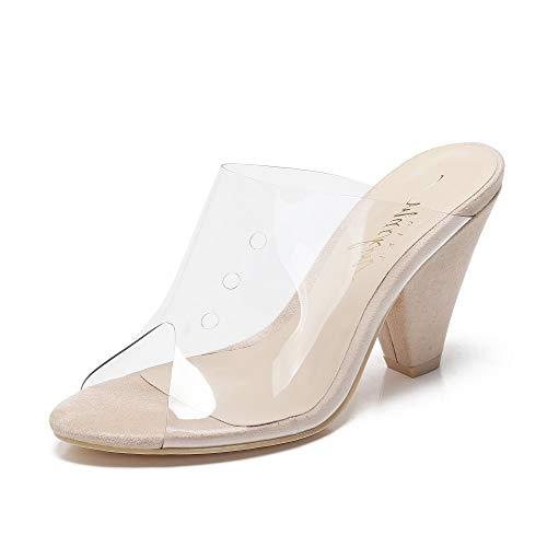 Mackin Girl G502-1 Women's Clear Sandals Open Toe Slip On Mule Chunky Heel Clear Shoes Beige 8.5