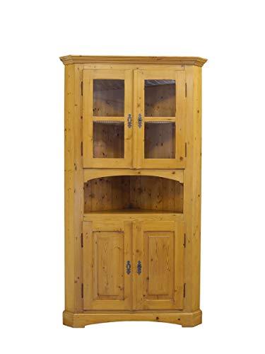 Antiker Eckschrank im Biedermeier Stil aus Weichholz | Vitrinen-Eckschrank Schrank | B: 105 cm (9798)