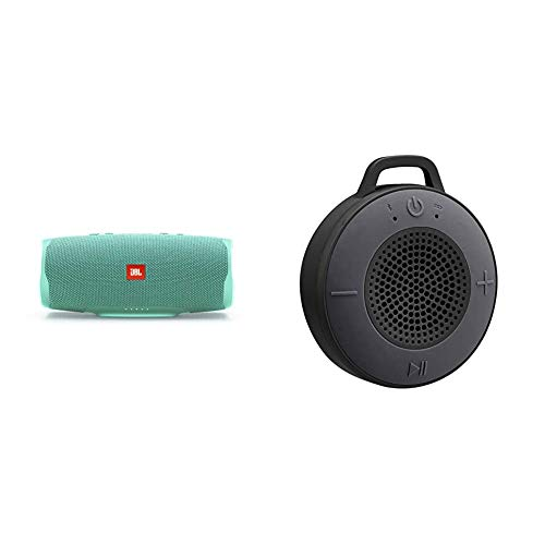 JBL Charge 4 Bluetooth-Lautsprecher in Petrol – Wasserfeste, Portable Boombox mit integrierter Powerbank & Amazon Basics Kabelloser Dusch-Lautsprecher mit 5-W-Treiber, eingebautem Mikrofon, Schwarz