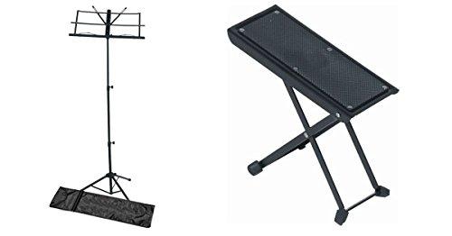Leggio 3 alzate portaspartiti con borsa + poggiapiedi per chitarristi