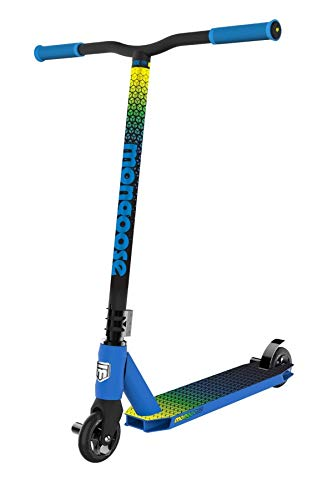 Mongoose Rise 110 Elite Youth and Adult Freestyle Kick Scooter, High Impact 110mm Wheels, Bike-Style Grips, Lightweight Alloy Deck, Blue/Yellow