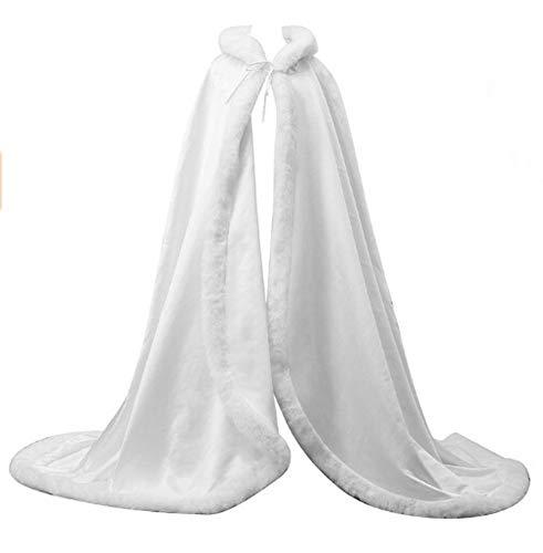 ShineGown Weiss Frauen Lange Mit Kapuze Brautkleid Mantel Braut Cape Hochzeit Damen Umhang Winter Warm Party Schals Wraps