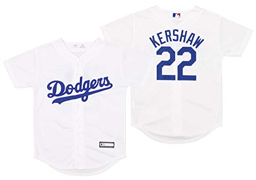 Outerstuff Los Angeles Dodgers Clayton Kershaw #22 MLB Big Boys Youth (8-20) Replica Home Jersey, White