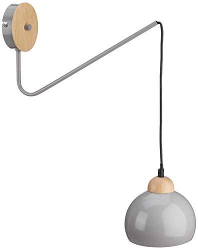 Homemania Lámpara de pared Dama, aplique, gris de metal, madera, 15 x 40 x 60 cm