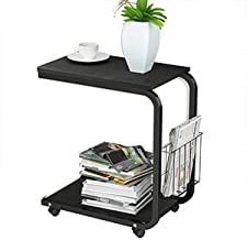 SogesPower 20 inches Laptop Desk End Table Sofa Table Movable Side Table with Storage Basket Computer Stand Desk, Black