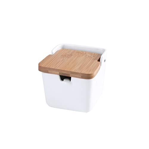 BESTonZON Gewürz Dose Keramik Quadrat Gewürzgläser Gewürzhalter mit Bambusdeckel Löffel (Weiß)