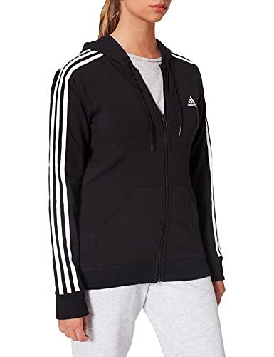adidas W 3S SJ FZ HD Sweatshirt, Women's, Black/White, M