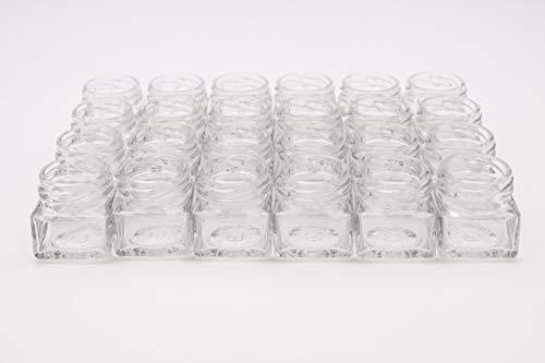 Flaschenbauer - 24 Mini Einmachgläser klein 40 ml Vierkant Gläser mit Schraubverschluss to 43 hellgrün - Mini Gläser mit Deckel perfekt als Mini Marmeladengläser klein, Honiggläser Mini