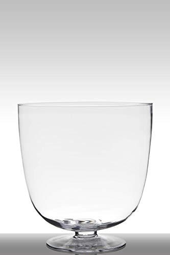 INNA-Glas Set 2 x Portavelas de Cristal para Mesa Shirley con pie, Embudo - Redondo, Transparente, 38cm, Ø 36cm - Juego de jarrones en Forma de Copa