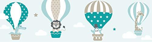 lovely label Bordüre selbstklebend HEISSLUFTBALLONS TAUPE/MINT/PETROL - Wandbordüre Kinderzimmer/Babyzimmer mit Tieren - Wandtattoo Schlafzimmer Mädchen & Junge – Wanddeko Baby/Kinder