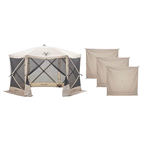 """Gazelle G6 8 Person 6 Sided 124"""" Portable Canopy Screen Tent with Wind Panels"""