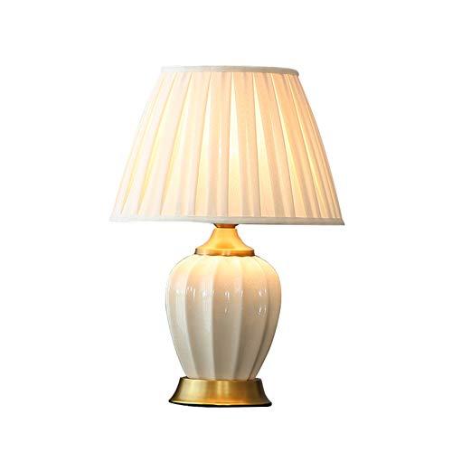 N / C Lámpara de Mesa de cerámica, Base de Cobre, lámpara de mesita de Noche China Simple y Moderna para el hogar, lámpara de Noche para decoración de Dormitorio y Sala de Estar