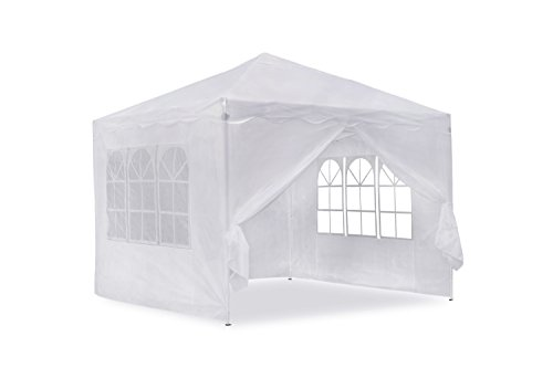 JOM Gartenpavillon, Falt-Pavillon 3 x 3 m, Weiss mit Seitenwänden, Material Oxford 200D, inkl. Tasche