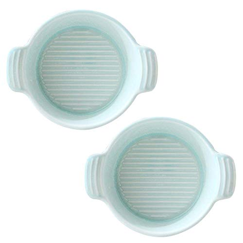 ERRWERFW Juego de 2 Placas de Horno de Porcelana Bandeja de Horno para lasaña en cazuela, etc. (Color: Verde tamaño: Redondo)