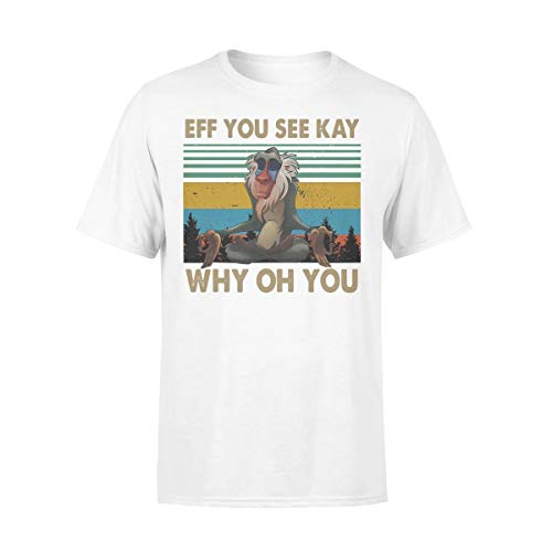 Monkey Eff You See Kay Why Oh You Yoga Vintage T-Shirt (White, 3XL)