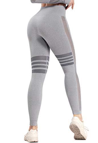 FITTOO Leggings Sin Costuras Mujer Pantalon Deportivo Alta Cintura Yoga Elásticos Fitness Seamless #1 Pant Gris M