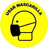 Señalizacion covid 19   10 unidades   10 x 10 cm   Indicación del uso obligatorio de mascarilla + texto   Pegatinas covid 19   Adhesivo para interiores   Amarillo