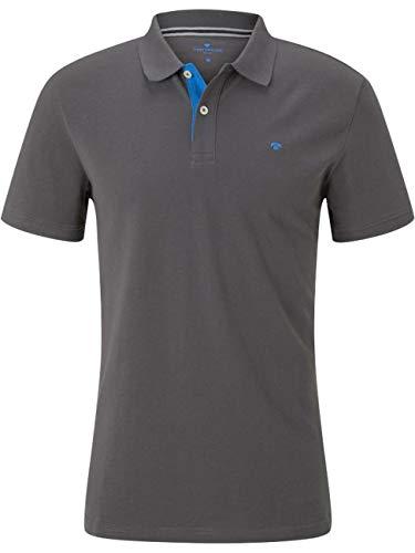 TOM TAILOR Herren Basic Polo Kragen Polohemd, Grau ( 10899 - Tarmac Grey )  , L