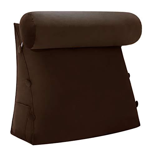 VERCART Kopfkissen Nackenstützkissen Stützkissen Dekokissen Lesekissen Rückenkissen Lesen Couch Sofa Nackenrolle tv Kissen 60cm Kaffeebraun