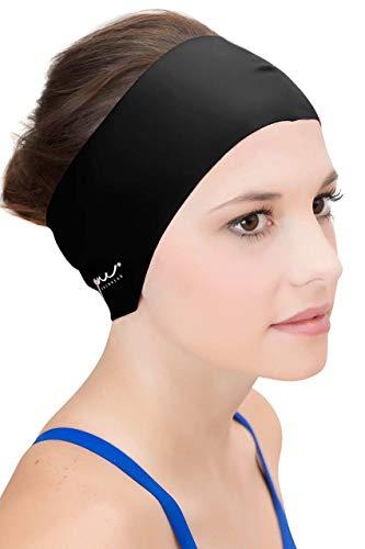 Sync Hair Guard & Ear Guard Headband - Wear Under Swimming Caps (Black)
