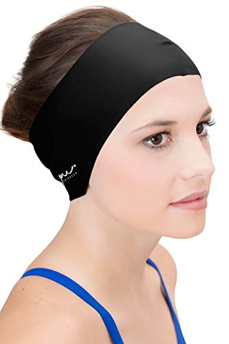 Sync Hair Guard & Ear Guard Headband - Wear Under Swimming Caps Black