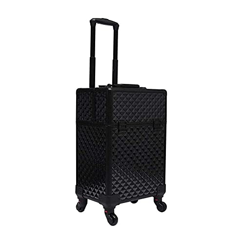 Water Cube Detachable Universal Wheel Tattoo Manicure Toolbox Cosmetics Trolley Case Travel Makeup Storage Suitcase High Capacity*Product No.:WW-29 (Color : Balck, Size : 34 * 24 * 55cm)