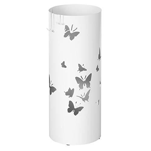 SONGMICS Regenschirmständer aus Metall, runder Schirmständer, Wasserauffangschale herausnehmbar, mit Haken, 49 x Ø 19,5 cm, weiß, LUC10W
