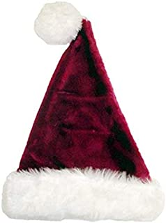 "17"" Plush Burgundy & White Santa Hat With Pompom - Size Medium"