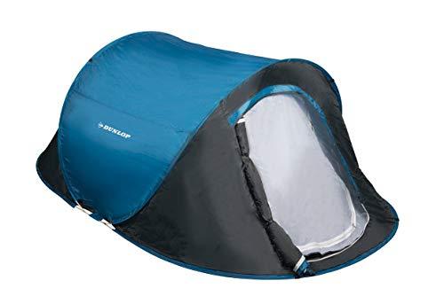 Dunlop 2 Personen Zelte Pop-up, Kuppelzelt Camping Outdoor Zelt, Blau/Grau, 255 x 155 x 95 cm