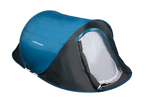 Dunlop Pop-up, koepeltent, camping, outdoortent, blauw/grijs, 1-2 personen