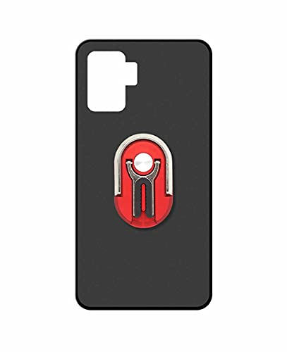 Sunrive Funda Compatible con OPPO Reno5 F, Soporte Teléfono Coche Silicona Mate Gel Carcasa Case Bumper Anti-Arañazos Espalda Cover Anillo Kickstand 360 Grados Giratorio(Rojo)