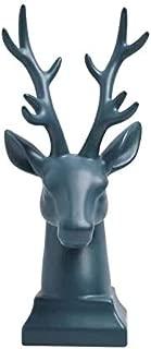 Ceramic Deer Head - 12 inch Stag Head Figurine Home Decor,Decorative Buck Bust Sculpture (Blue)