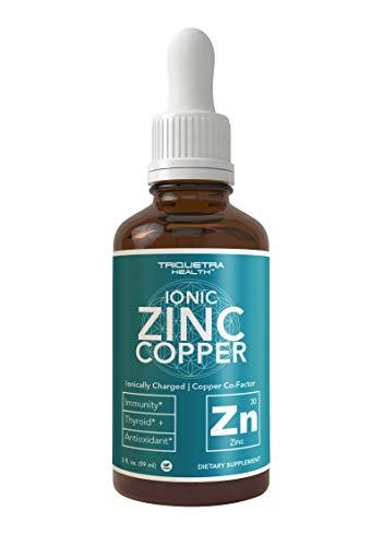 Ionic Zinc Plus Copper Liquid Concentrate 240 Servings, Glass Bottle, Vegan - Balanced Ratio of Zinc Copper - Supports Immunity, Brain Thyroid (2 oz.)