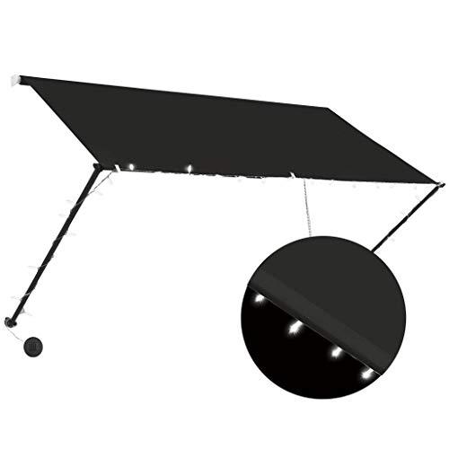 UnfadeMemory Toldo Retráctil Manual para Ventana Terraza Balcón o Jardín,con LED,Resistente al Agua,Estructura de Acero (250x150cm, Gris Antracita)