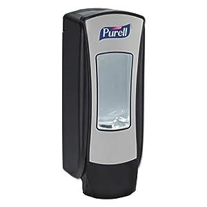 PURELL - 8828-01 ADX-12 Push-Style Dispenser, Chrome/Black Finish, Dispenser for PURELL ADX-12 1200 mL Hand Sanitizer Refills – 8828-08