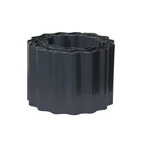 bellissa Rasenkante Welle aus Metall - 99732 - Stahlblech feuerverzinkt, anthrazit - 5 m x 14 cm