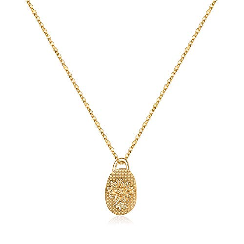 Yoosteel Birth Flower Necklace for Women, 14K Gold Plated Embossed Bold Chrysanthemum Pendant Coin Necklace Pendant Chrysanthemum Flower Necklaces for Women Gilrs
