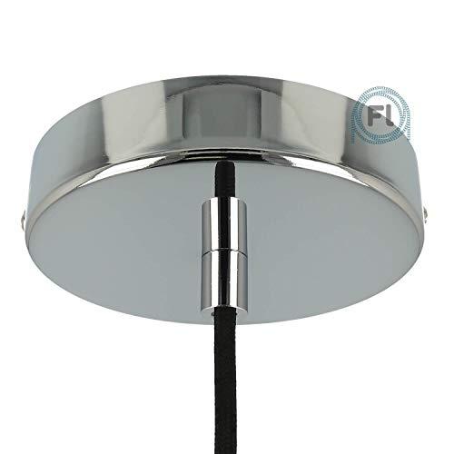 Flairlux All-in-One Baldachin für Lampe 1 Loch Metall chrom rund 120x25mm inkl Wago Klemmen, Klemmnippel zylindrisch