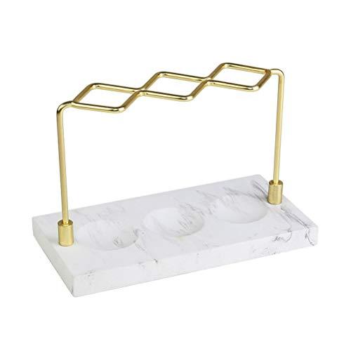 TOPBATHY Support à Rangement en marbre pour Brosse à Dents, Coiffeuse 3 Compartiments, Pinceau à Maquillage en Fer, Organisateur, brosses