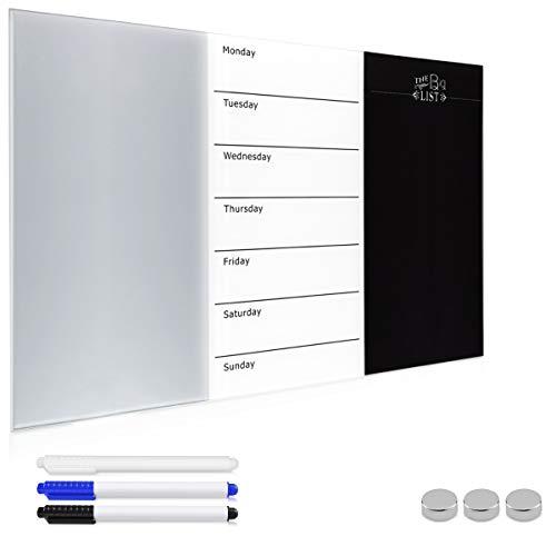 Navaris Magnettafel Wochenplaner Whiteboard aus Glas - Tafel 60x40 cm magnetisch zum Beschriften - Magnetwand Kalender inkl. Magnete Stifte Halterung