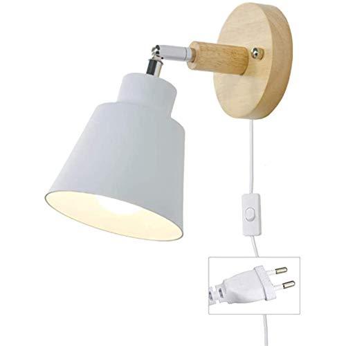 CZLWZZD Lámpara de Pared Cable E27 Enchufe Madera Lámpara de Lectura Moderna Interior con Interruptor para La Sala de Estar Dormitorio Lámpara de Cama Foco de Pared