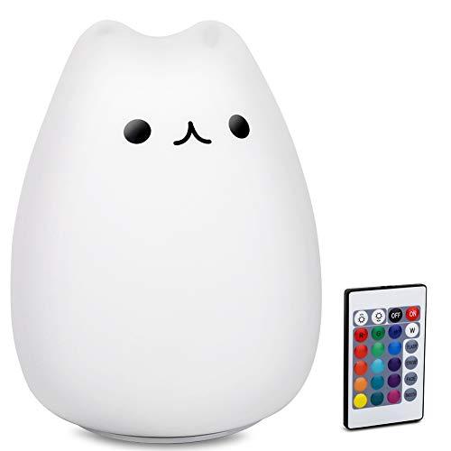 Kinder-Nachtlicht, Katzenlampe, Fernbedienung, dimmbar, mit 16 RGB-Farben und 4 Beleuchtungsmodi, wiederaufladbar per USB, für Babys und Kleinkinder, süßes Geschenk