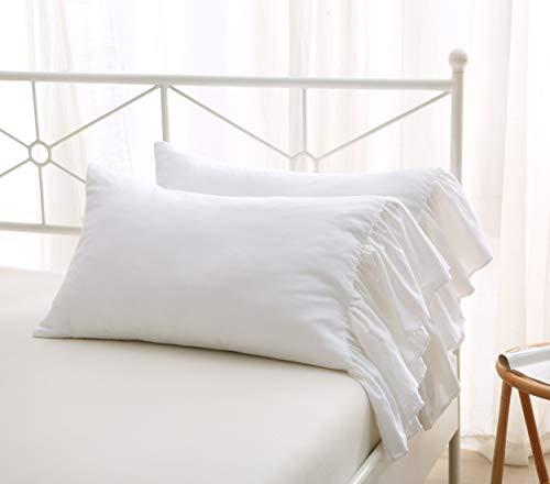 Meaning4 - Juego de 2 fundas de almohada de color blanco brillante, con volantes largos, cola de pez de sirena, Egipto, algodón, tamaño king de 20 x 36 pulgadas, suave Boudoir
